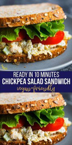 Vegan Sandwich Filling, Vegetarian Sandwich Recipes, Veg Sandwich, Healthy Sandwich Recipes, Healthy Sandwiches, Chickpea Recipes, Veggie Recipes, Lunch Recipes, Cooking Recipes
