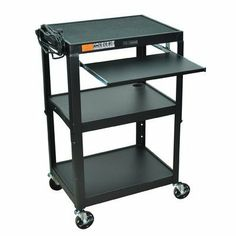 Luxor AVJ42KB Compact Steel Mobile Computer Workstation Color: Black by Luxor. $142.70. AVJ42KB Color: Black Features: -Rolls on 4'' casters, two with locking brakes.-Choose from black, green, red, yellow, or royal blue.-Optional CPU holder is Sold separately. See related products.. Includes: -Includes 3-outlet, 15' UL and CSA electric assembly. Dimensions: -Weight: 54 Lbs.-Dimensions: 24'' - 42'' H x 24'' W x 18'' D.