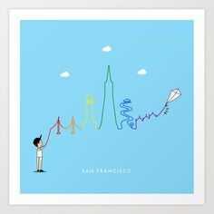 San Francisco Skyline Kite Art Print by keindesign Buy Frames, Kite, Travel Posters, Printing Process, San Francisco Skyline, Gallery Wall, Art Prints, Products, Art Impressions