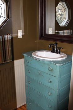 Mudroom Renovation: Old Dresser Re-purposed into a Stunning Vanity on the Cheap - 1 More Than 2