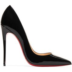 Christian Louboutin So Kate 120 patent-leather pumps (£495) ❤ liked on Polyvore featuring shoes, pumps, heels, zapatos, high heel pumps, black pointy-toe pumps, black high heel shoes, black heeled shoes and black high heel pumps