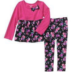 Garanimals Baby Toddler Girl Printed Babydoll Tee & Printed Jeggings 2 Pc Set, Size: 4 Years, Pink