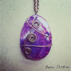 Vibrant Purple Dragons Vein Agate Wire Wrapped Antiqued Copper Pendant Available from Beau Janglies on Etsy Dragons, Irish Jewelry, Crown Chakra, Agate Stone, Antique Copper, Wire Wrapped Jewelry, Wire Wrapping, Vibrant, Khaleesi