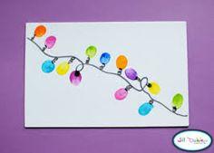 stempelen met een plastieken lepeltje: lichtjes in de kerstboom