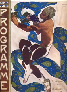 Nijinsky's Faun Costume in 'L'Apres Midi d'un Faune' by Claude Debussy from the front cover of the programme for the season of the 'Ballets Russes', 1912 (colour litho) Wall Art Prints by Leon Bakst Art And Illustration, Illustrations, Kunst Poster, Poster Art, National Gallery Of Art, Russian Ballet, Russian Art, Costume Faun, Ballet Russo
