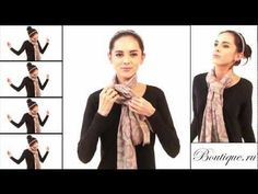 The girl is annoying, but there is a lot of ideas of how to do your scarf in this video