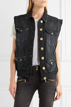 Balmain | Distressed denim gilet | NET-A-PORTER.COM