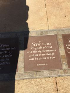 scripture verses set into the cement