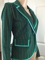 Original Penguin by Munsingwear Women's Blazer Velvet & Silk S Green Striped EUC