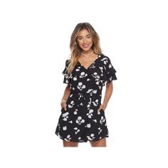 Juniors' Candie's® Tiered Ruffle Dress, Teens, Size: Medium, Black
