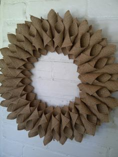 Burlap Wreath with tutorial Brick Home Love