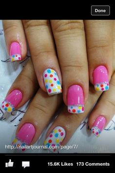 Fun pink polka dot French manicure style nail design