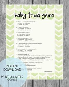 Printable, Chevron Style - Baby Shower Trivia Game that your baby shower guests will love! Instant download - Boho baby shower or tribal theme! PrintItBaby.com