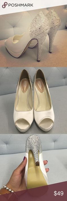 Pink by Paradox London pumps New with box. Have been display heels at my boutique. Never worn outside. Stunning rhinestone heel. Ivory satin. Offers welcomed!! Pink by Paradox London Shoes Heels