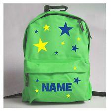 Kids Boys Personalised Stars Print Rucksack Lime Blue Orange Red School Nursery