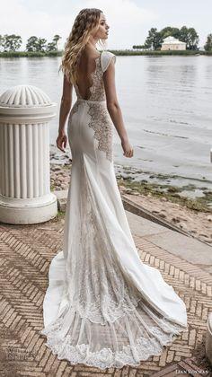 lian rokman 2018 bridal cap sleeves deep v neck heavily embellished bodice high slit skirt sheath wedding dress open v back chapel train (13) bv -- Lian Rokman 2018 Wedding Dresses