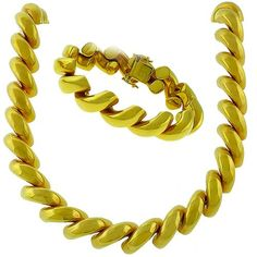 Vintage_1960s_14k_Yellow_Gold_Bracelet_&_Necklace_Set | New York Estate Jewelry | Israel Rose