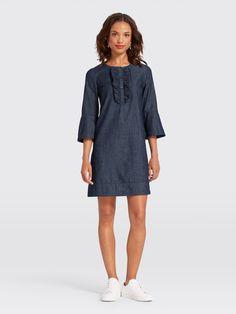 d95ac37ddd Chambray Ruffle Shift Dress - Clothing. Draper JamesFall ...