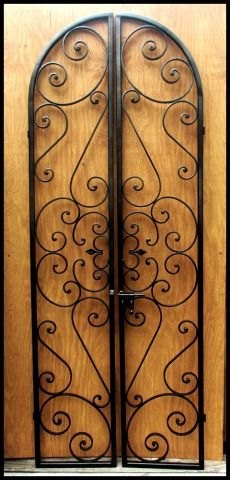 """36"""" by 80"""" Forged Scroll Iron Wine Cellar Double Door or Garden Gate"""