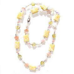 boho gemstone shell beaded necklace