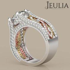 Twist Three Tone Round Cut Created White Sapphire Engagement Ring