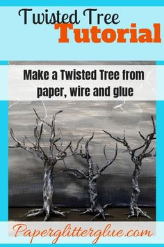 Make a spooky miniature twisted tree for Halloween from paper-covered wire, glue and paint. Detailed instructions and video explain how to make this cool twisted tree Halloween Village, Halloween Trees, Creepy Halloween, Diy Halloween Decorations, Holidays Halloween, Halloween Crafts, Haunted Tree, Spooky Trees, Haunted Forest