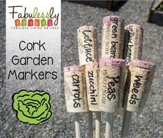 DIY Cork Garden Markers http://fabulesslyfrugal.com/?p=143140