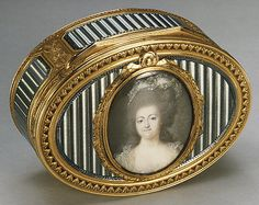 Snuffbox Snuffbox, 1773-1774, Joseph-Étienne Blerzy (master 1768, active 1806), Artist: Miniature by François Dumont (French, Lunéville 1751–1831 Paris) French (Paris) Medium: Gold, enamel. The Metropolitan Museum of Art