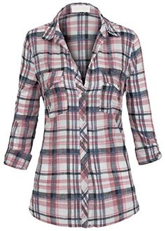 Women's Button Down Roll up Sleeve Hi Low Relaxed Loose Fit Plaid Flannel Shirt