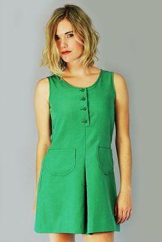 Vtg 70 Green Halter Button Down A Line Disco Go Go Mini Jumper Dress S | eBay