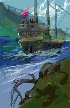 Корабль в бухте. Худ. Комаров. Цифровая живопись