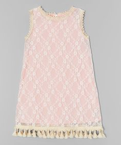 Another great find on #zulily! Coral & Creme Floral Mindy Dress - Girls #zulilyfinds