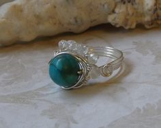 Wire wrapped turquoise magnesite and aquamarine ring December birthstone March birthstone Gift idea Beaded jewelry