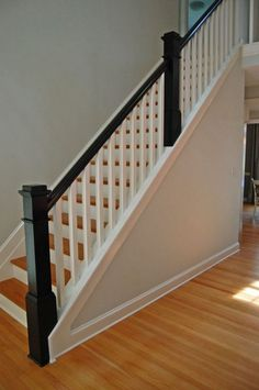 Best White Newel Post Charcoal Stained Handrail White Square 640 x 480