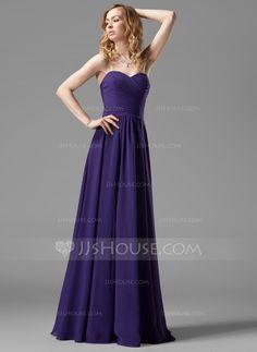 A-Line/Princess Sweetheart Floor-Length Chiffon Bridesmaid Dress With Ruffle (007004143) - JJsHouse