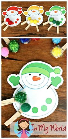 FREE Winter Preschool Center Activities: Snowmen color matching