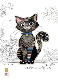 G014 Kasper Kitten Bug Art Greeting Card Bug Art Altered Art Greeting Cards