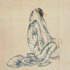 Katsushika Hokusai (Japanese 1760 - 1849), Seated courtesan. Ink and colour on paper