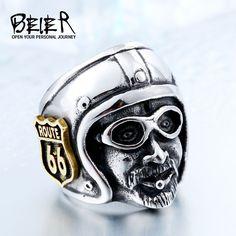 TuiNui Brand Motorcycle Biker Man RingS Plated-Gold Route 66 Stainless Steel  #TuiNui #Biker
