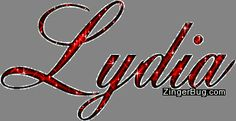 Lydia Red Glitter Name Glitter Graphic, Greeting, Comment, Meme or GIF
