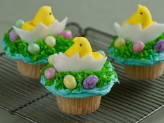 Chicken and Egg Cupcakes : You won't have to wonder which came first -- this cute cupcake features both a marshmallow chicken and a candy egg. Perch them both atop blue-tinted icing and green coconut grass.