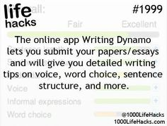 Ideas About DIY Life Hacks & Crafts 2017 / 2018 The online app Writting Dynamo lets you submit your papers/essays and will give you detailed writing tips on voice, word choice, sentence structure and more. -Read More – School Life Hacks, College Life Hacks, School Study Tips, School Tips, College Tips, School Essay, College Planner, Weekly Planner, Simple Life Hacks