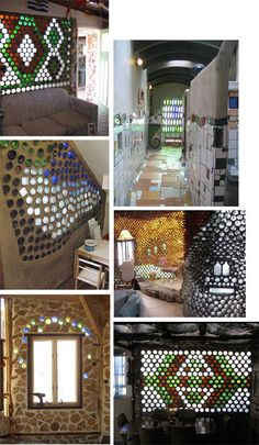 botella Bottle House, Bottle Wall, Bottle Garden, Van Home, Unusual Homes, Earthship, Vintage Labels, Mosaic Art, Recycled Materials