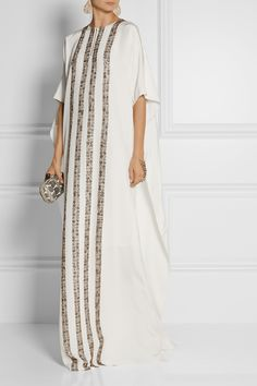 Oscar de la Renta|Embellished woven silk kaftan|NET-A-PORTER.COM $3690