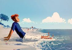 Enjoy the diverse gallery of summer illustrations by famous artist Pascal Campion: nature, people, sun and love in digital art. Beach Illustration, Digital Illustration, Pascal Campion, Dreamworks Animation, Visual Development, Illustrations And Posters, Beach Art, Famous Artists, Art World