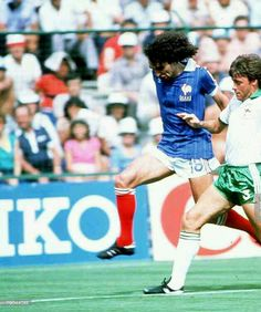 France 4 N. Ireland 1 in 1982 in Madrid. Dominique Rocheteau gets by Mal Donaghy to make it 3-0 on 68 minutes in Round 2, Group A at the World Cup Finals.
