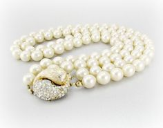 Vintage Ivory Glass Pearl Necklace, Designer VENDOME Necklace, Double Multi-Strand Necklace, 1950s Antique Wedding Bridal Costume Jewelry by RedGarnetVintage, $98.00