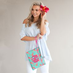 Sometimes the right clutch is all that it takes to pull an outfit together! Whether you are planning a night out with your favorite bridesmaids or getting ready together the morning of your big day, this zippered bag is the perfect size to hold everything you need. Monogram Clutch, Monogram Tote Bags, Flamingo Pattern, Flamingo Print, Children's Boutique, Pink Patterns, Bridesmaid Gifts, Bridesmaids, Custom Bags