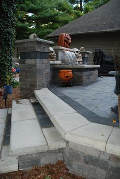 Unilock Brick Paver Waterfall Patio and steps Halloween Theme.