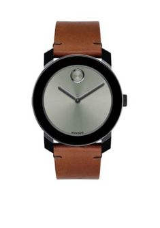 Movado Men's Men's Stainless Steel Bold Cognac Leather Watch - Ccognac - One Size